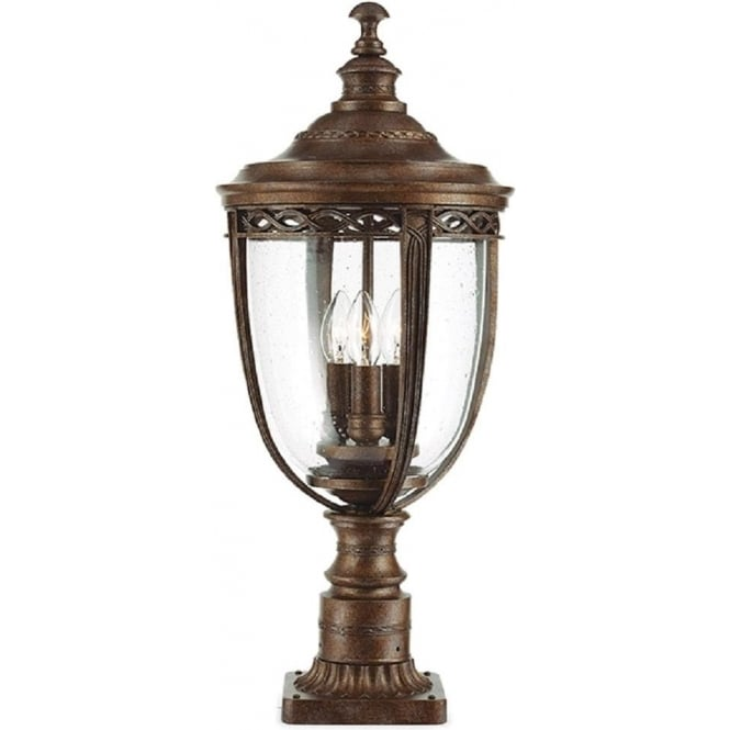 Traditional bronze period style pedestal or gate post light ip44 english bridle bronze pedestal or garden post light large aloadofball Image collections