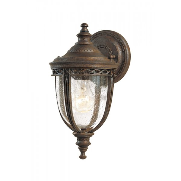 Traditional White Wall Lights : Antique Bronze Front Door Lantern Light with Seeded Glass Shade, IP44