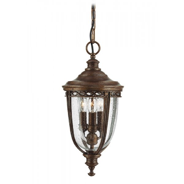 Feiss English Bridle Medium Pedestal Lantern Light Black: Traditional Bronze Hanging Porch Light With Seeded Glass Shade