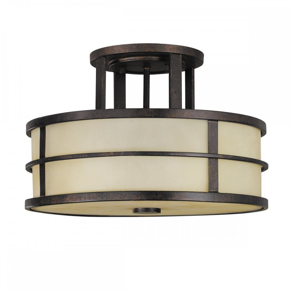 FUSION 3 light semi flush ceiling light in dark bronze with amber glass  shade and diffuser