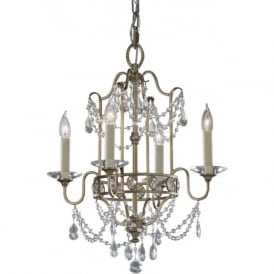 GIANNA Edwardian gilded silver and crystal dual mount chandelier