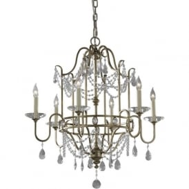 GIANNA Edwardian gilded silver chandelier with crystal