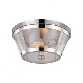 HARROW flush fitting ceiling light in nickel with clear seedy glass