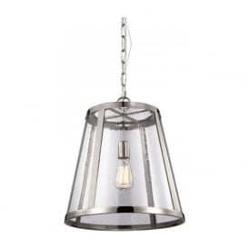 HARROW modern nickel ceiling pendant light with seeded glass