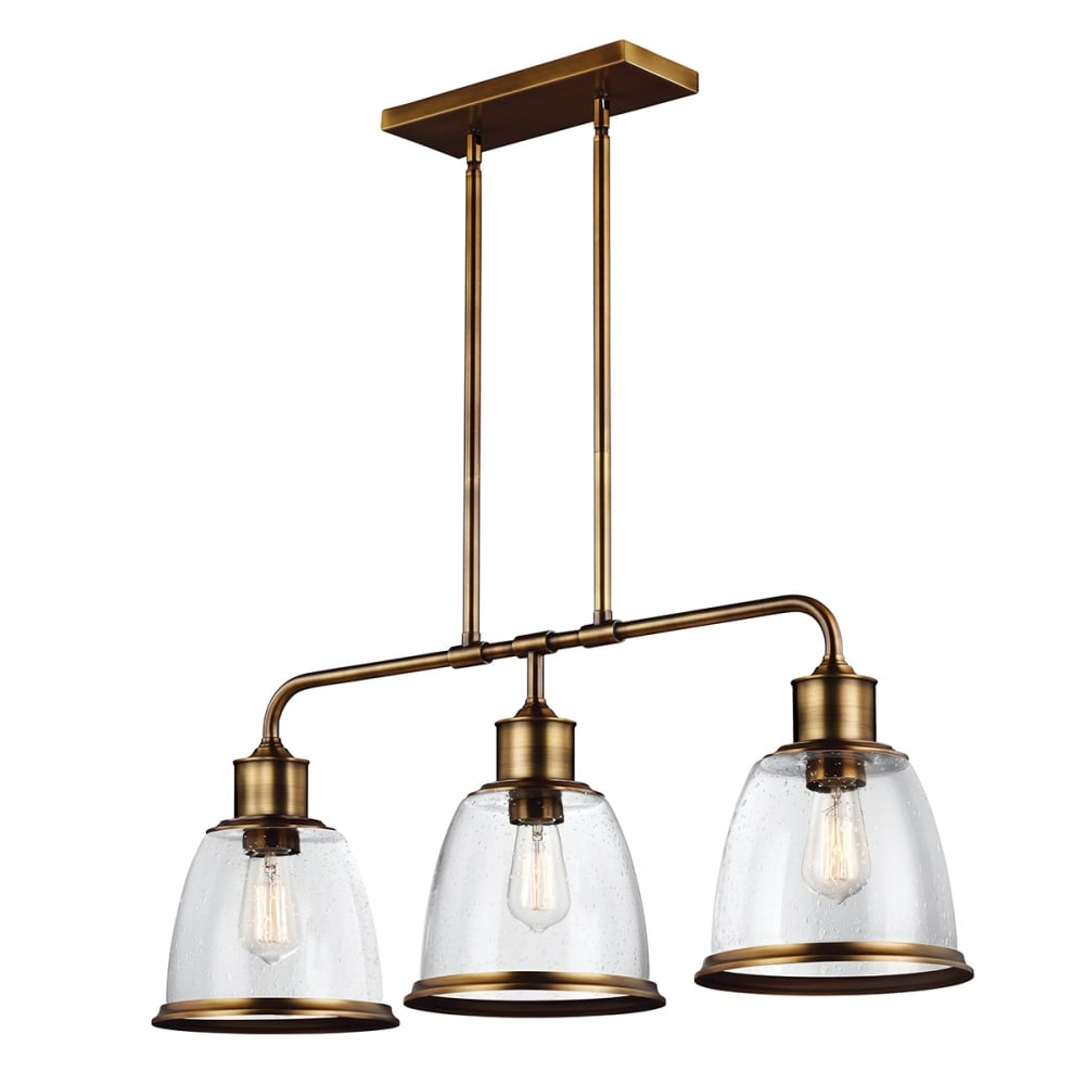 kitchen pendant lighting linear kitchen island pendant in aged brass with 3 hanging 2426