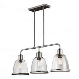 HOBSON vintage style 3 light kitchen island pendant - satin nickel