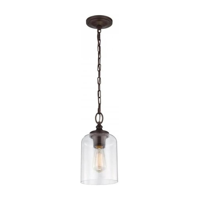 Bronze Mini Ceiling Pendant Light With Clear Glass Shade