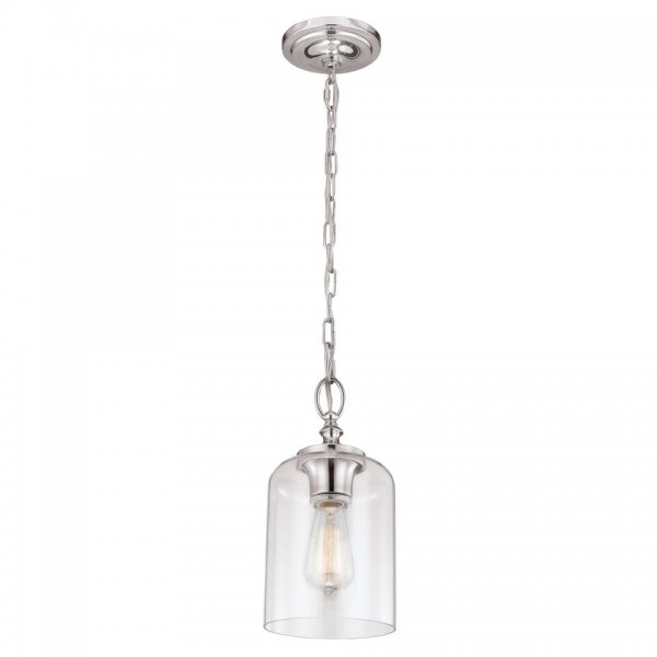 Mini Chain Ceiling Pendant Light On Nickel Fitting, Clear