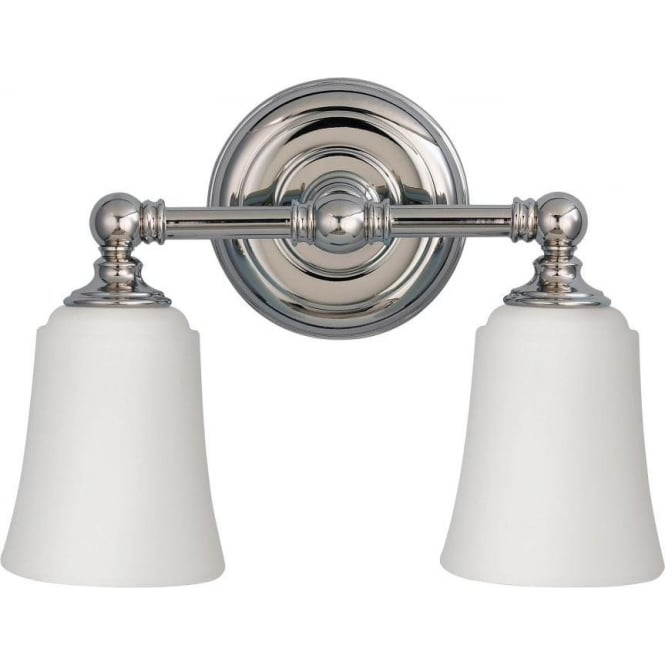Ip44 period style twin bathroom wall light chrome with opal shades Traditional bathroom accessories chrome