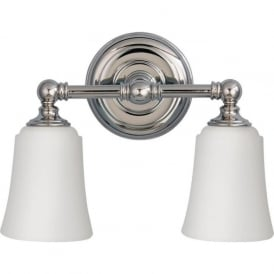 HUGUENOT LAKE traditional twin chrome bathroom wall light, IP44