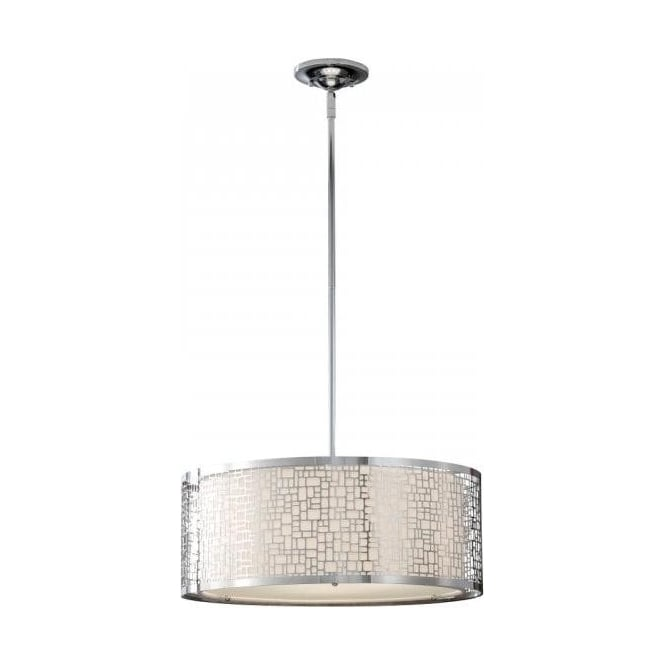 Modern Drum Ceiling Lights : Drum pendant ceiling light open chrome outer inner white