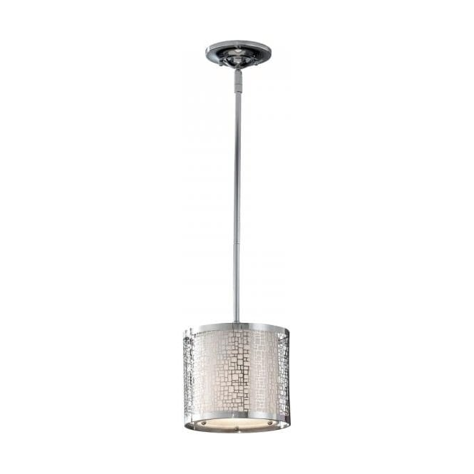 Mini Ceiling Pendant With White Fabric Shade And Open