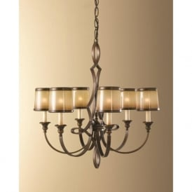 JUSTINE traditional 6 light bronze chandelier for high ceilings