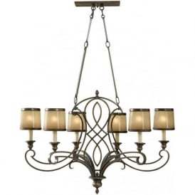 JUSTINE traditional aged bronze island chandelier
