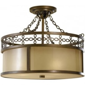 JUSTINE traditional aged bronze semi-flush ceiling light