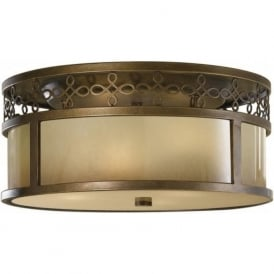 JUSTINE traditional flush fitting aged bronze ceiling light