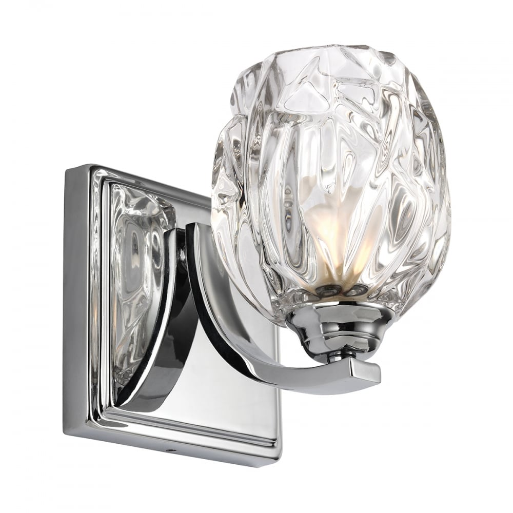 Led bathroom wall light in chrome with faceted crystal glass shade kalli ip44 led bathroom wall light with crystal glass shade mozeypictures Image collections