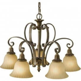 KELHAM HALL traditional bronze gold chandelier, 5 lights