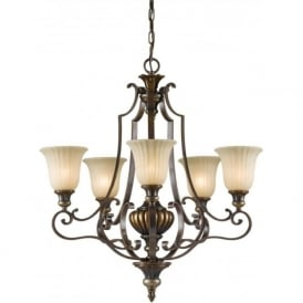 KELHAM HALL traditional chandelier, 5 light, bronze gold finish
