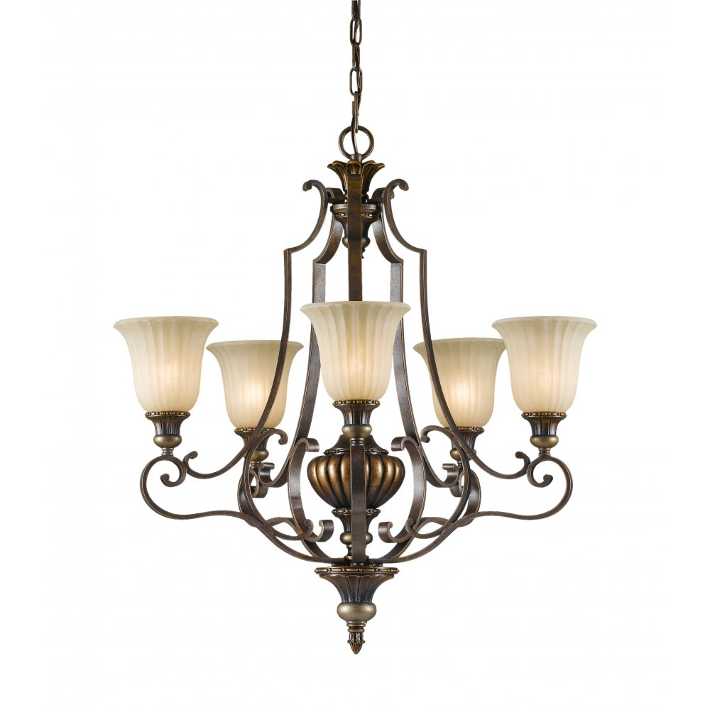 Traditional 5 light bronze chandelier with warm scavo - Westwing lamparas ...