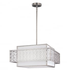 KENNEY geometric Art Deco 3 light silver ceiling pendant with white inner linen shade