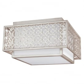 KENNEY geometric Art Deco flush fitting low ceiling light with white inner linen shade