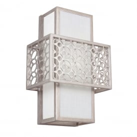 KENNEY geometric Art Deco silver wall light with white inner linen shade