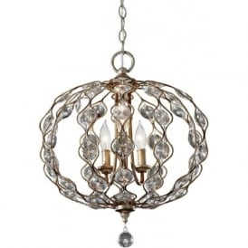 LEILA 3 light oval ball chandelier in silver dressed with crystal