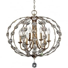 LEILA 6 light oval ball chandelier in silver dressed with crystal