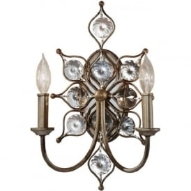 LEILA decorative double crystal wall light on silver frame
