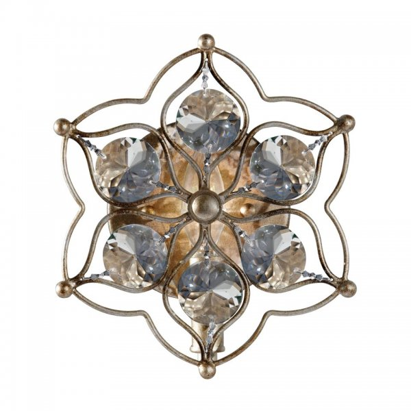 Flush Fitting Star Shaped Wall Light Dressed with Bauhinia Crystals