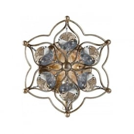LEILA flush fitting decorative crystal wall light on silver frame