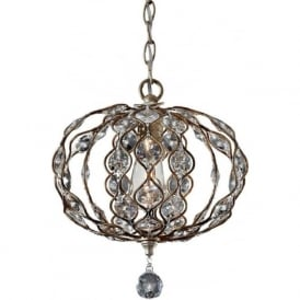 LEILA small oval ball chandelier in silver dressed with crystal