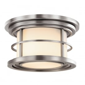 LIGHTHOUSE flush fitting porch ceiling light in brushed steel