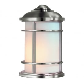 LIGHTHOUSE outdoor flush fitting half wall lantern in brushed steel