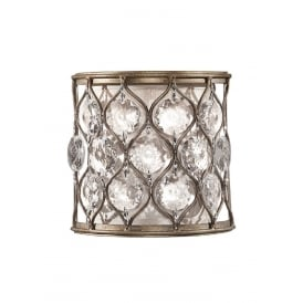 LUCIA curved wall light in burnished silver dressed with Bauhinia crystals