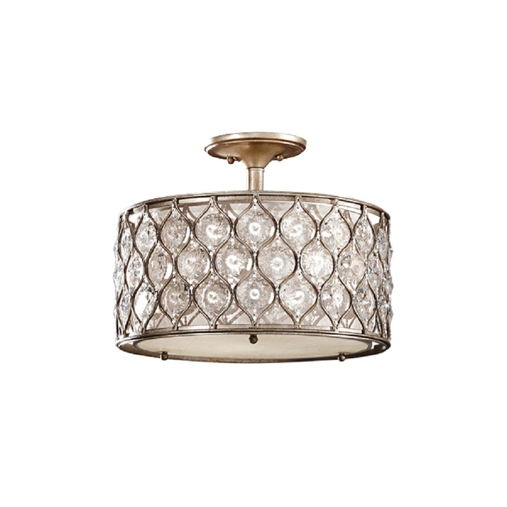 Chandlier style drum shade light for low ceilings with crystal flowers lucia semi flush drum shade ceiling light in burnished silver dressed with bauhinia crystals aloadofball Choice Image