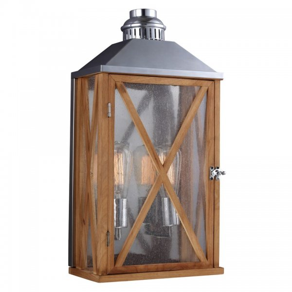 Rustic French Wall Lights : Flush Fitting Oak Garden Wall Lantern in Vintage French Styling