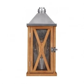 LUMIERE French inspired rustic wooden garden wall light, IP44