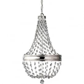 MALIA 6 light nickel chandelier with smoked crystal droplets