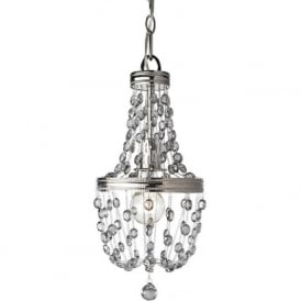 MALIA mini nickel chandelier with smoked crystal droplets