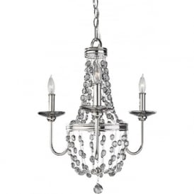 MALIA small nickel chandelier with smoked crystal droplets