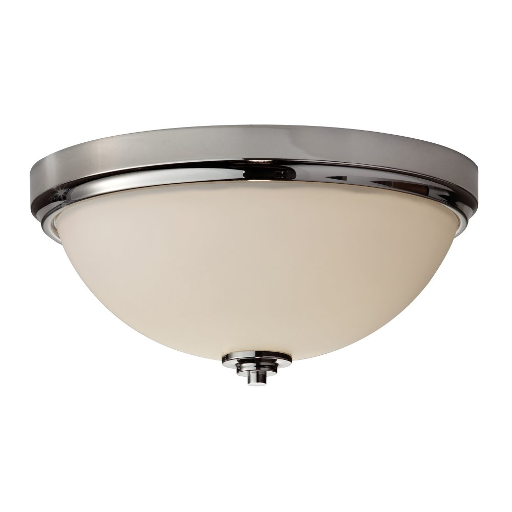 Chrome and opal glass flush fitting bathroom ceiling light for Bathroom ceiling lights