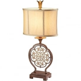 MARCELLA bronze and gold table lamp with shade