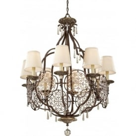 MARCELLA bronze chandelier style ceiling light, fretwork detailing