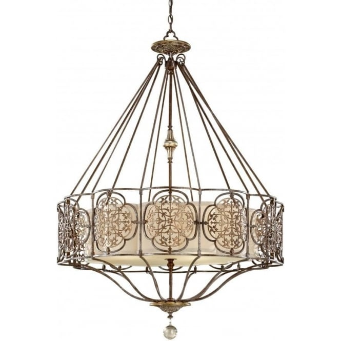 Decorative bronze fretwork chandelier style ceiling pendant light marcella edwardian style bronze chandelier pendant light mozeypictures Image collections