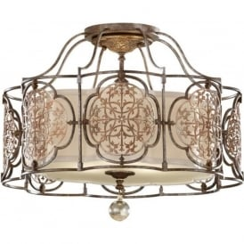 MARCELLA traditional semi-flush mounted ceiling light, bronze