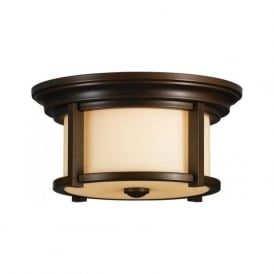 MERRILL flush fitting bronze porch ceiling light with cream glass