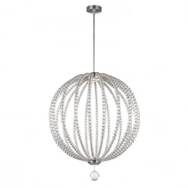 OBERLIN LED modern orb ceiling pendant with clear rondure crystal beads - large