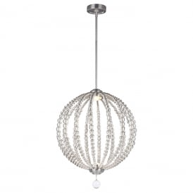 OBERLIN LED modern orb ceiling pendant with clear rondure crystal beads - medium